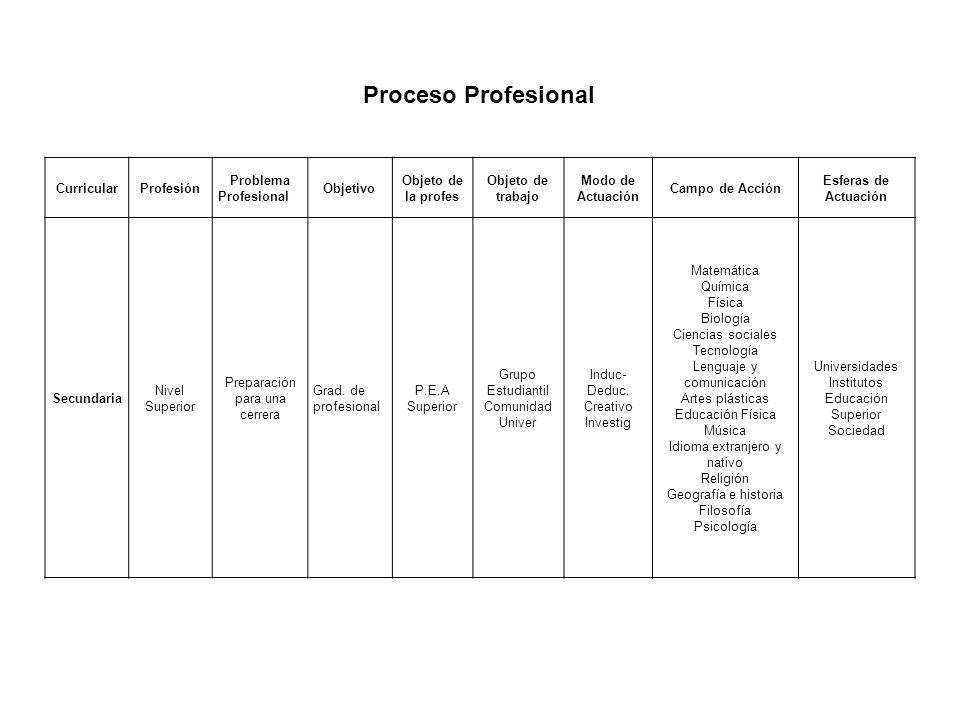 CurricularProfesión Problema Profesional Objetivo Objeto de la profes Objeto de trabajo Modo de Actuación Campo de Acción Esferas de Actuación Secunda