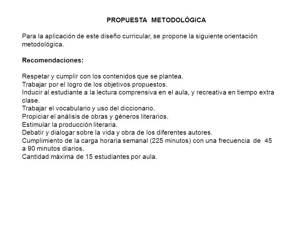 PROPUESTA METODOLÓGICA Para la aplicación de este diseño curricular, se propone la siguiente orientación metodológica. Recomendaciones: Respetar y cum