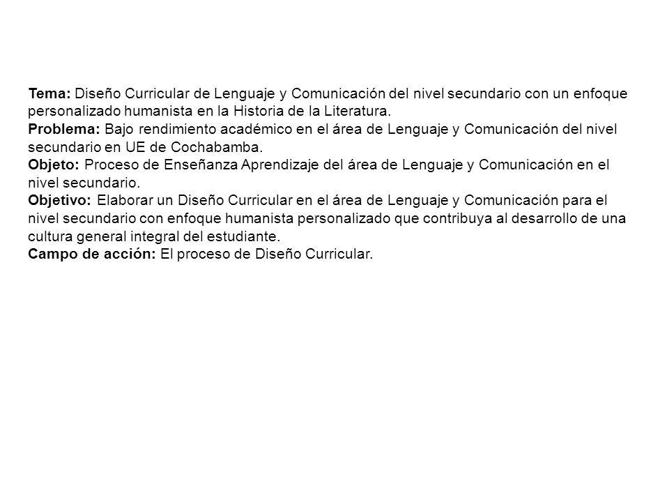 Tema: Diseño Curricular de Lenguaje y Comunicación del nivel secundario con un enfoque personalizado humanista en la Historia de la Literatura. Proble