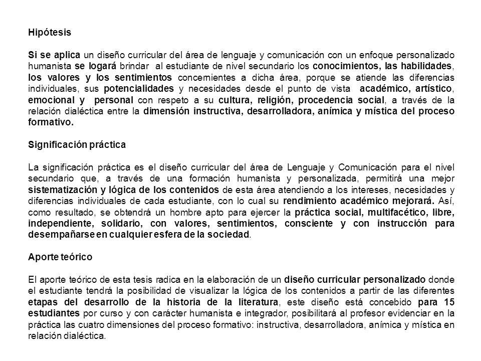Hipótesis Si se aplica un diseño curricular del área de lenguaje y comunicación con un enfoque personalizado humanista se logará brindar al estudiante