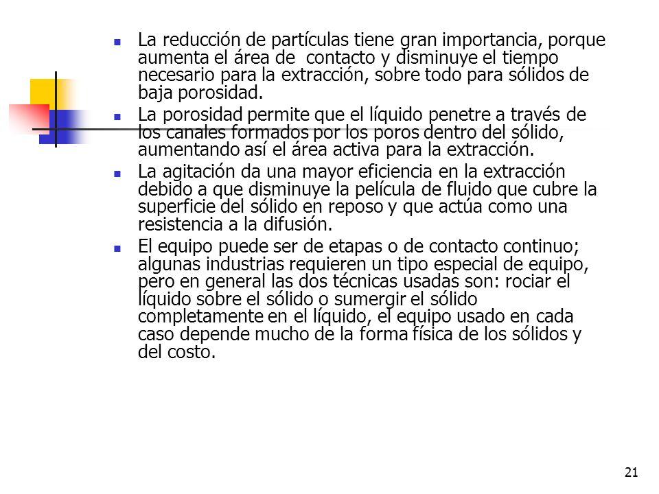 20 Velocidad de extracción La velocidad de extracción es afectada por los siguientes factores: Temperatura Concentración del solvente Tamaño de las pa