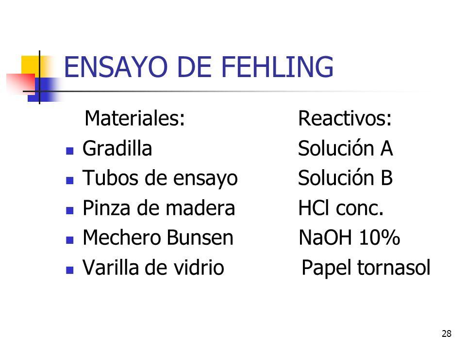 27 Reactivo de Fehling Reactivo de Fehling: solución descubierta por el químico alemán Hermann von Fehling y que se utiliza como reactivo para la dete