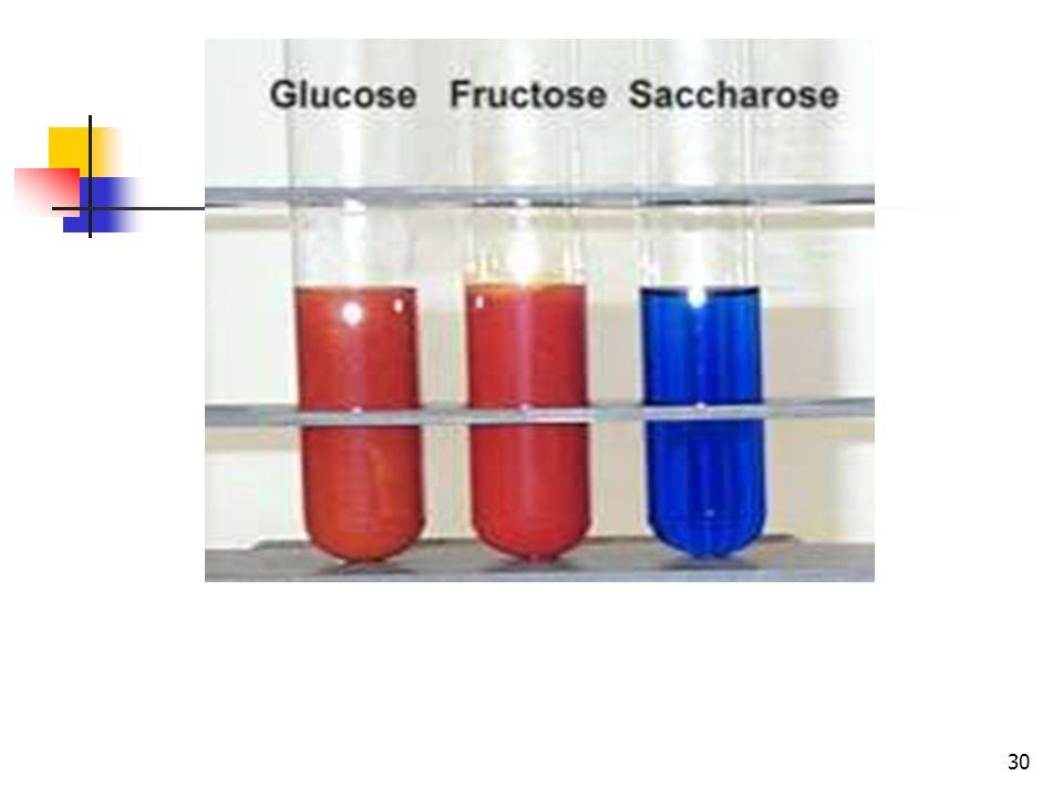 29 PROCEDIMIENTO: La reacción de Fehling se realiza del siguiente modo: Añadir en un tubo de ensayo 1 mL de la solución de Fehling A y 1 mL de la solu