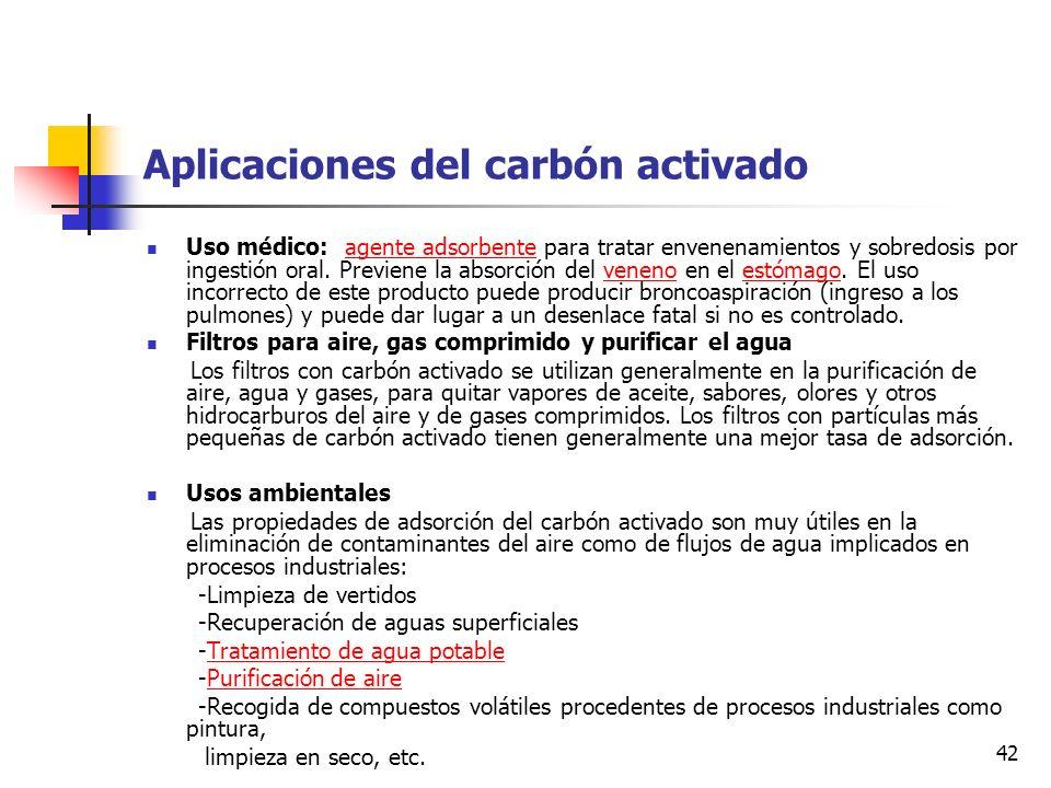 41 Proceso del carbón activado El proceso del carbón activado se basa en producir un carbón a partir de materiales como: cortezas de almendros, cáscar