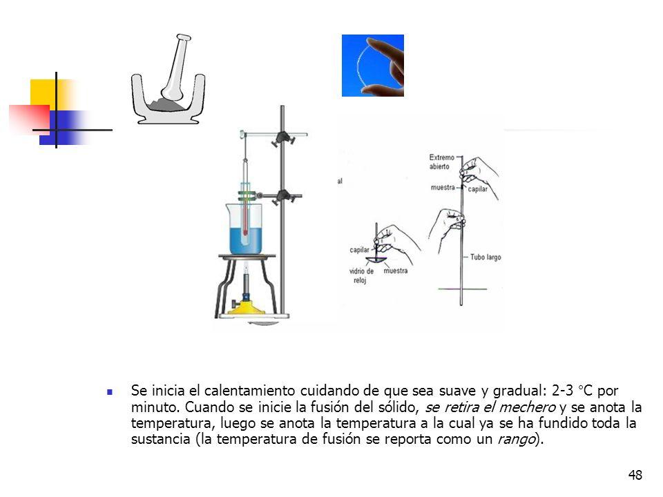 47 Determinación del punto de fusión con capilares: Materiales y equipo Sólido: sustancia obtenida seca ( punto de fusión : 185-187°C ). Mechero Aceit