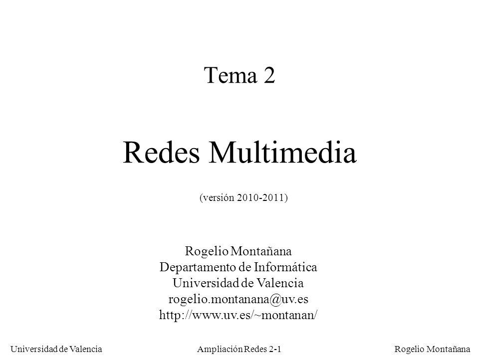 Universidad de Valencia Rogelio Montañana Ampliación Redes 2-41 Niveles y perfiles en MPEG-2 NivelResolución max.Calidad Bajo352 x 288MPEG-1 (CIF, VHS) Principal720 x 576SD (Broadcast o CCIR-601) Alto-14401440 x 1152HD 4:3 Alto1920 x 1152HD 16:9 PerfilFinalidad SimpleSolo fotogramas I y P (para codecs de bajo costo) PrincipalEl más utilizado SNRAlta calidad, escalable EspacialPara video tridimensional AltoPermite submuestreo 4:2:2 (además del 4:2:0)