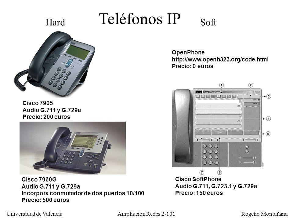 Universidad de Valencia Rogelio Montañana Ampliación Redes 2-100 LAN con telefonía IP WAN con QoS (DiffServ o IntServ) Teléfono software (Netmeeting, GnomeMeeting, Softphone, etc.) El teléfono recibe alimentación eléctrica desde el switch LAN (estándar 802.3af) y actúa como un switch de dos puertos Call Manager (Gestor de telefonía IP) (Servidor Windows/XP) Tramas H.323 con alta prioridad (802.1p) Las tramas del teléfono van en una VLAN de alta prioridad (se usa 802.1p y 802.1Q)