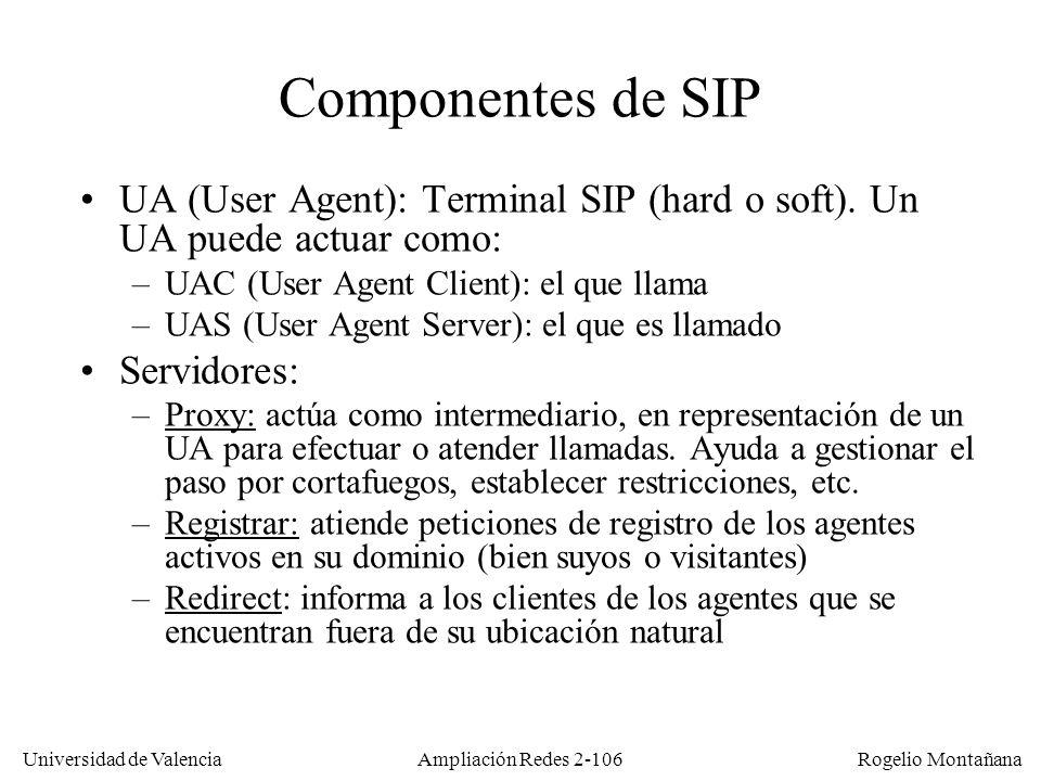 Universidad de Valencia Rogelio Montañana Ampliación Redes 2-105 SIP (Session Initiation Protocol) En el mundo del IETF los estándares de la ITU-T siempre se han visto con recelo.