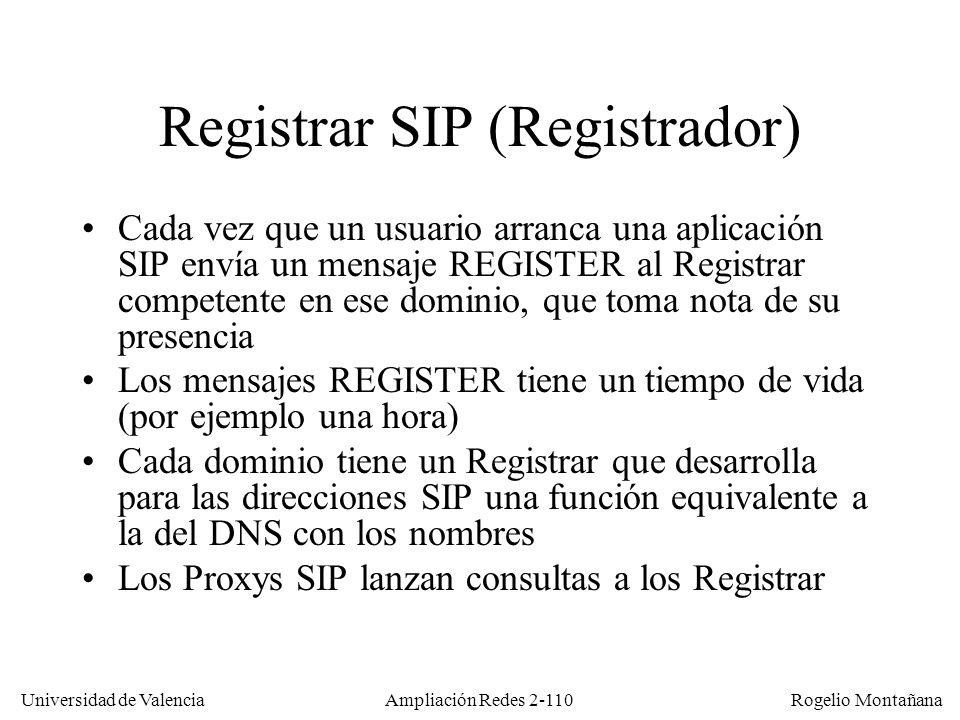 Universidad de Valencia Rogelio Montañana Ampliación Redes 2-109 Direcciones SIP En el ejemplo anterior Luis tenía una IP fija.
