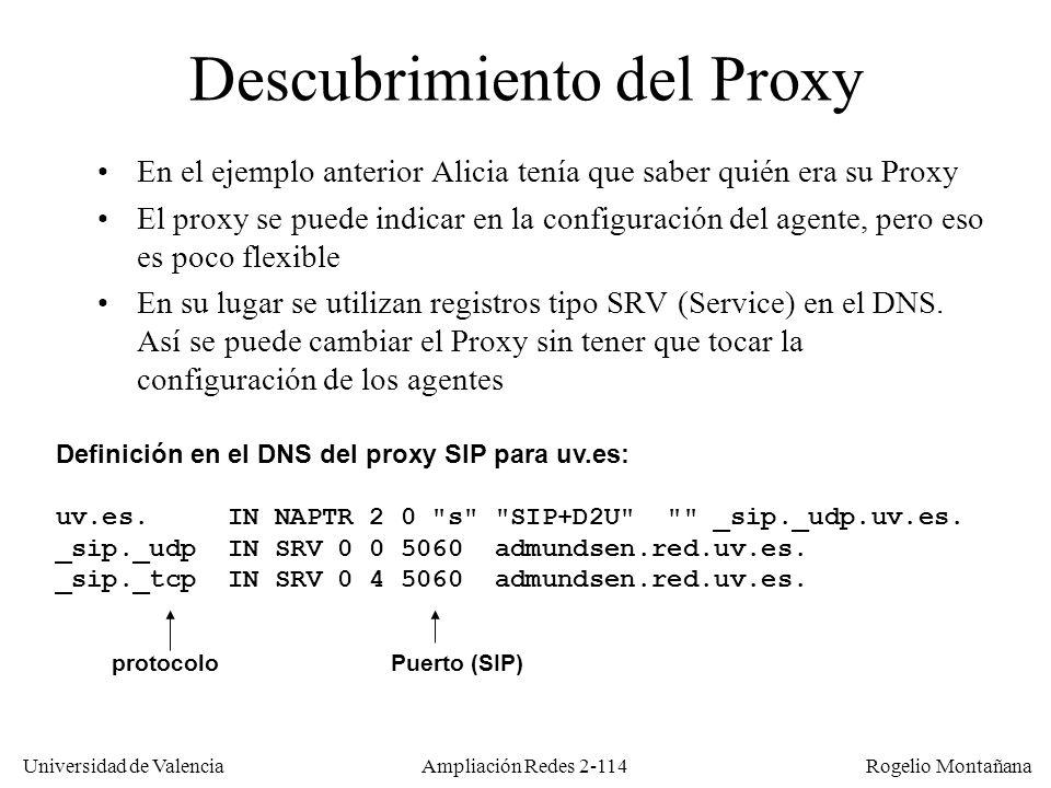 Universidad de Valencia Rogelio Montañana Ampliación Redes 2-113 Llamada SIP mediante Proxy/Registrar Alicia@uv.es 147.156.12.24 Luis@uv.es 154.42.13.26 Proxy SIP uv.es alicia@uv.es 147.156.12.24 luis@uv.es 154.42.13.26 INVITE luis@uv.es INVITE luis@154.42.13.26 200 OK ACK Audio G.711 µ-law (sobre RTP) Audio GSM (sobre RTP) Puerto 38060 Puerto 48753 El tráfico entre Alicia y Luis irá por la ruta más corta PROXYPROXY