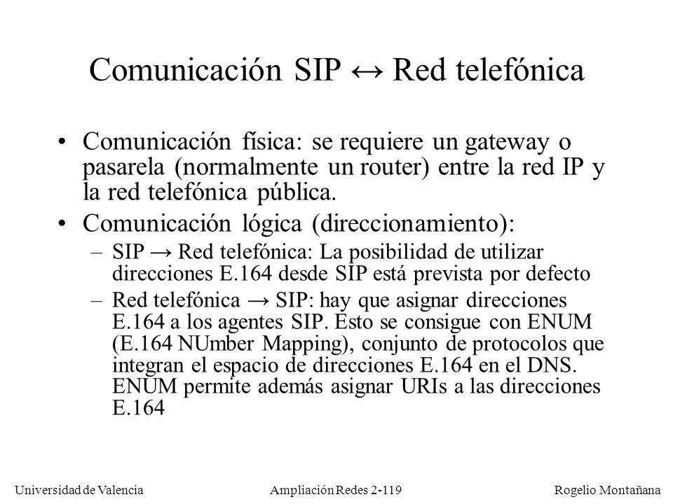 Universidad de Valencia Rogelio Montañana Ampliación Redes 2-118 Redirección de llamadas SIP Alicia@uv.es 147.156.12.24 peter@ed.ac.uk 129.215.233.60 pedro@uji.es en peter@ed.ac.uk Proxy/redirect SIP uji.es Proxy SIP uv.es 1: INVITE 2: INVITE 3: 301 MOVED Contact: peter@ed.ac.uk 4: INVITE 5: INVITE 6: 200 OK 8: 200 OK 7: 200 OK Proxy SIP ed.ac.uk peter@ed.ac.uk 129.215.233.60 9: ACK 10: Audio-video