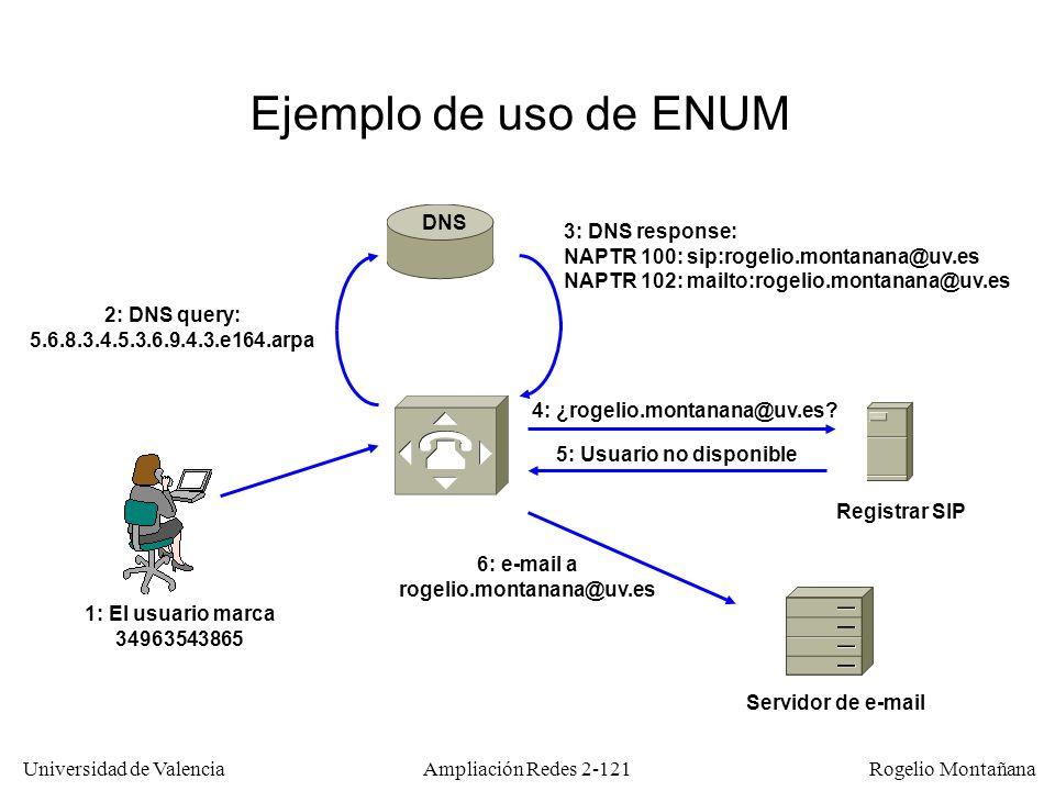 Universidad de Valencia Rogelio Montañana Ampliación Redes 2-120 Como funciona ENUM A cada dirección E.164 le corresponde un nombre en el DNS, de la siguiente forma (RFC 3761): Los registros introducidos en el DNS son de tipo NAPTR (Name Authority Pointer) y le asignan uno o varios URIs equivalentes con diferentes prioridades.
