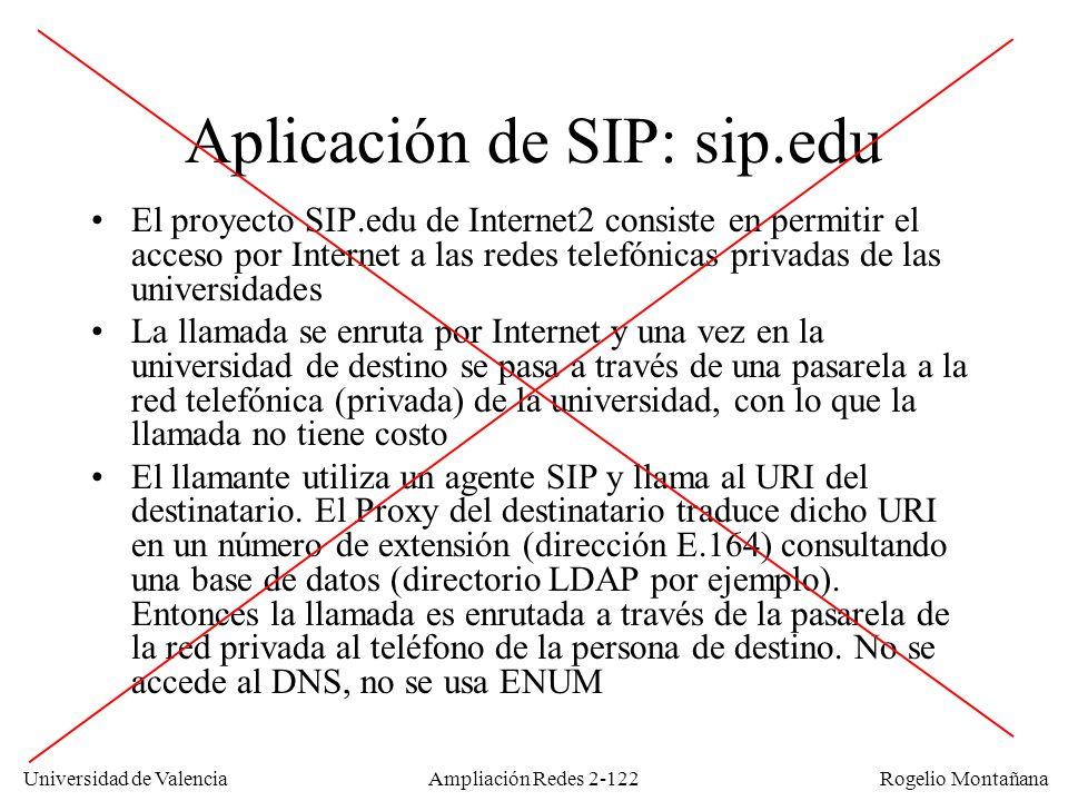Universidad de Valencia Rogelio Montañana Ampliación Redes 2-121 Ejemplo de uso de ENUM 1: El usuario marca 34963543865 2: DNS query: 5.6.8.3.4.5.3.6.9.4.3.e164.arpa 3: DNS response: NAPTR 100: sip:rogelio.montanana@uv.es NAPTR 102: mailto:rogelio.montanana@uv.es 5: Usuario no disponible Registrar SIP Servidor de e-mail 4: ¿rogelio.montanana@uv.es.