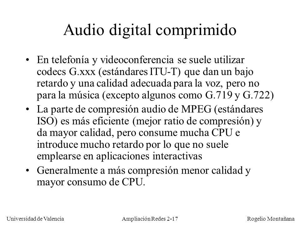 Universidad de Valencia Rogelio Montañana Codecs de audio estandarizados La mayoría de los códecs estandarizados de compresión de audio provienen de dos organismos –La ITU-T: son los estándares G.7xx pensados para telefonía (voz) aunque algunos son aptos para música y sonidos diversos.