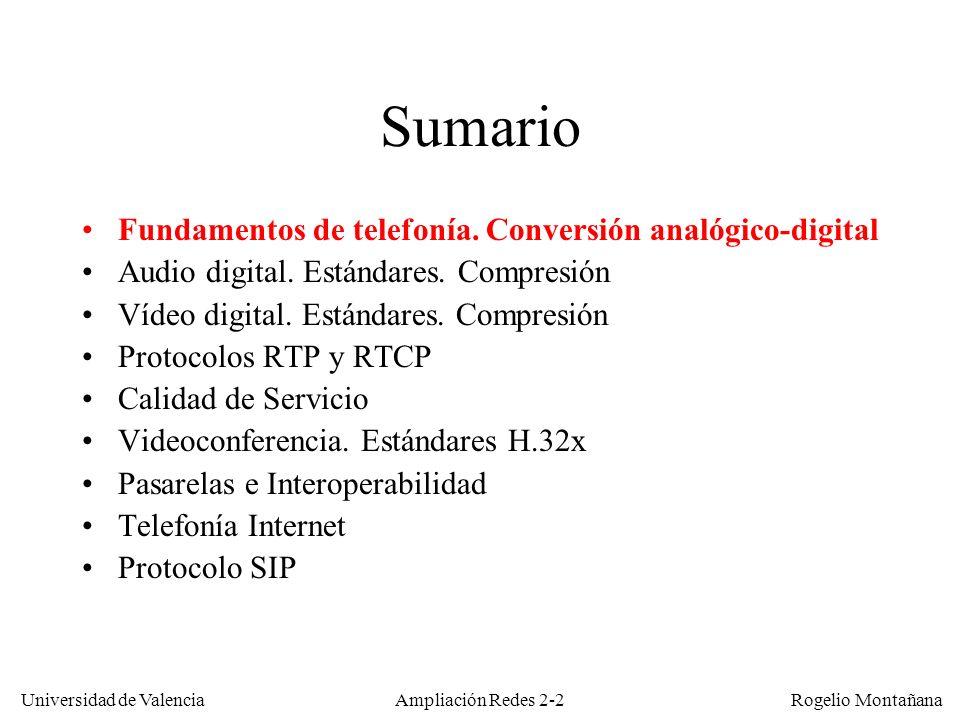 Universidad de Valencia Rogelio Montañana Ampliación Redes 2-62 Compensación del jitter con un buffer de reproducción Paquetes 1 2 3 4 5 6 7 8 Tiempo (ms) 20 406080 100 120140160180200220240260 280 Reproducción sin buffer Reproducción con buffer de 76 bytes (2 paquetes) Paquetes recibidos demasiado tarde Flujo de audio ILBC de 15,2 Kb/s (1 paquete de 38 bytes cada 20 ms) Todos los paquetes llegan a tiempo Retardo de transmisión 140 ms Salida Llegada 0 Retardo de paquetización 20 ms Retardo de reproducción 40 ms