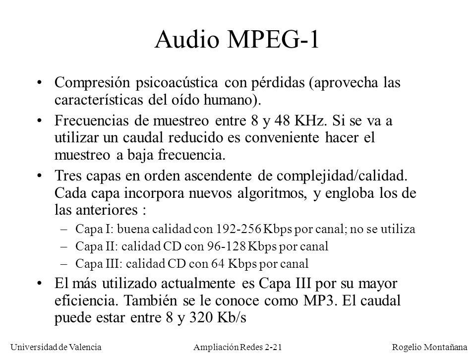 Universidad de Valencia Rogelio Montañana Ampliación Redes 2-20 Compresión vs calidad Caudal (Kb/s) MOS (Mean Opinion Score) 0 PCM (G.711) ADPCM 32 (G.726) ADPCM 24 (G.725) ADPCM 16 (G.726)LDCELP 16 (G.728) LPC 4.8 CS-ACELP 8 (G.729) MP-MLQ 6,4 (G.723.1) Normalmente para tener alta compresión con calidad y bajo retardo hay que ejecutar el algoritmo de compresión en hardware, en unos chips llamados DSP (Digital Signal Processor) 8 16 24 32 40 48 56 64 CS-ACELP (G.729a) 012345