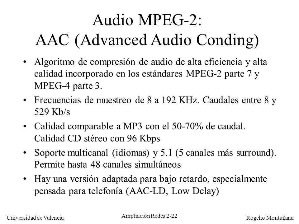 Universidad de Valencia Rogelio Montañana Ampliación Redes 2-21 Audio MPEG-1 Compresión psicoacústica con pérdidas (aprovecha las características del oído humano).