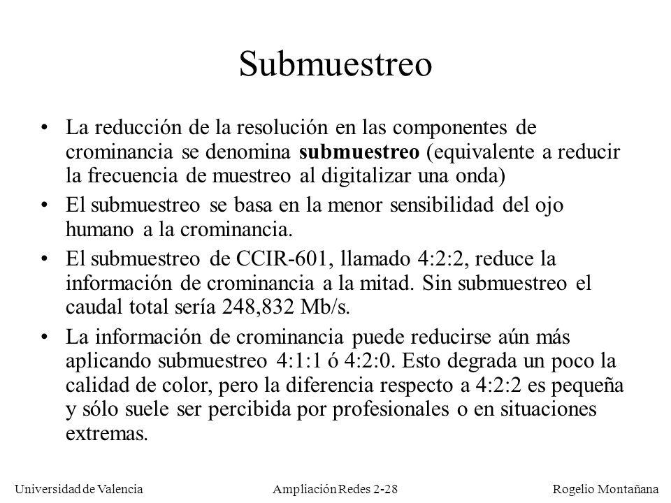 Universidad de Valencia Rogelio Montañana Ampliación Redes 2-27 Vídeo digital no comprimido El formato de vídeo digital utilizado como referencia en estudios de TV es el estándar ITU-R CCIR-601, también llamado D1.