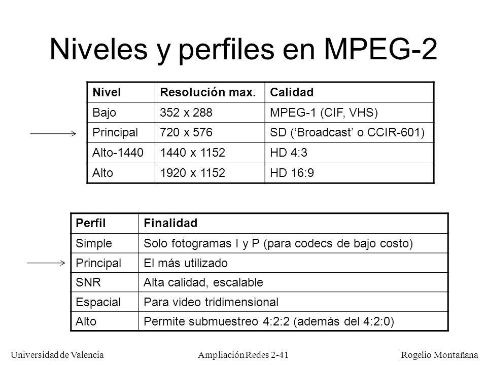 Universidad de Valencia Rogelio Montañana Ampliación Redes 2-40 MPEG 1 y 2 MPEG-1 –Orientado a vídeo en CD-ROM (vídeo progresivo) –Objetivo: Calidad VHS.