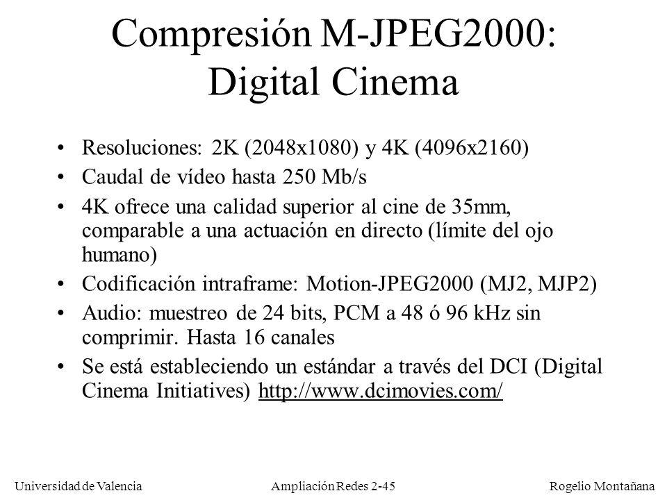 Universidad de Valencia Rogelio Montañana Ampliación Redes 2-44 Estándares de vídeo ITU-T (VCEG) Desarrollados para videoconferencia: –H.120: Histórico, no se usa –H.261(1980): desarrollado para RDSI (caudal constante).