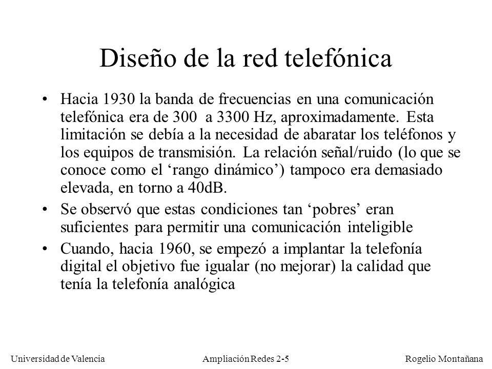 Universidad de Valencia Rogelio Montañana Ampliación Redes 2-15 Algunos codecs de audio digital FormatoAncho de banda (KHz)Caudal (Kb/s)Uso PCM (G.711)3,364Voz G.7192032 a 128Voz y música SB-ADPCM (G.722)748/56/64Voz SB-ADPCM (G.722.1)716/24/32Voz y música SB-ADPCM (G.722.1C)1424/32/48Voz y música AMR-WB (G.722.2)712,65-23,85Voz (GSM) MP-MLQ (G.723.1)3,36,3/5,3Voz ADPCM (G.726)3,316/24/32/40Voz LD-CELP (G.728)3,316Voz CS-ACELP (G.729A)3,38Voz LPC-10E (FS 1015)3,32,4Voz MELP (STANAG-4591)3,30,6-2,4Voz ILBC (RFC 3951)3,313,33/15,2Voz CD-DA / DAT22/24705,6/768Voz y música MPEG-1 Layer I16/22/24192-256Voz y música MPEG-1 Layer II16/22/2496-128Voz y música MPEG-1 Layer III (MP3)16/22/2464Voz y música MPEG-2 AAC16/22/2432-44Voz y música Elevado Retardo y alta calidad (música) Bajo Retardo y, en general, baja calidad (telefonía) No comprimido