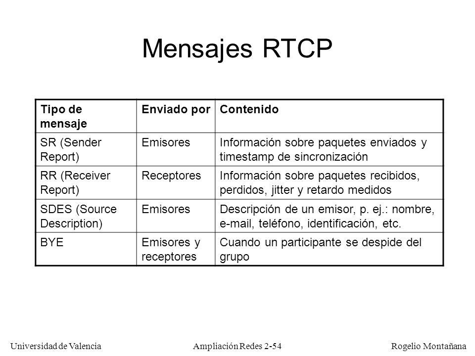 Universidad de Valencia Rogelio Montañana Ampliación Redes 2-53 Flujo vídeo (ident.