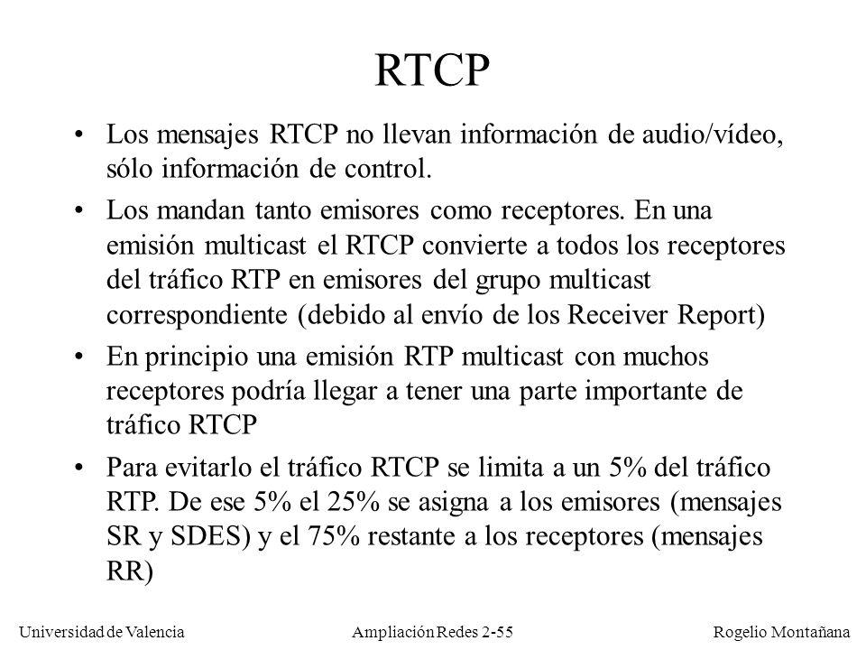 Universidad de Valencia Rogelio Montañana Ampliación Redes 2-54 Mensajes RTCP Tipo de mensaje Enviado porContenido SR (Sender Report) EmisoresInformación sobre paquetes enviados y timestamp de sincronización RR (Receiver Report) ReceptoresInformación sobre paquetes recibidos, perdidos, jitter y retardo medidos SDES (Source Description) EmisoresDescripción de un emisor, p.