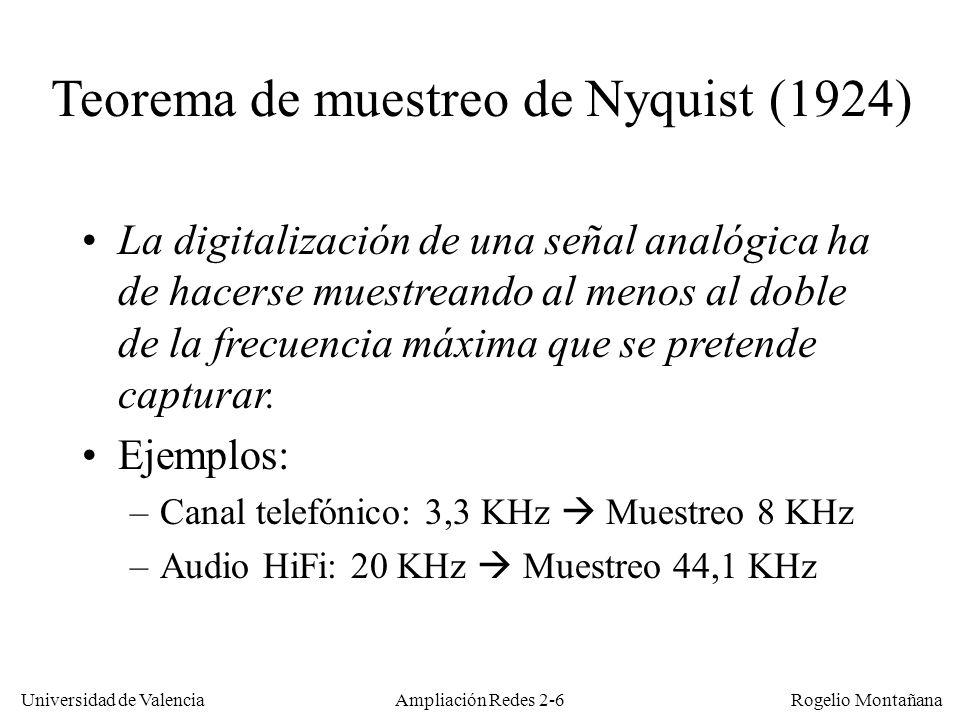 Universidad de Valencia Rogelio Montañana Ampliación Redes 2-6 Teorema de muestreo de Nyquist (1924) La digitalización de una señal analógica ha de hacerse muestreando al menos al doble de la frecuencia máxima que se pretende capturar.