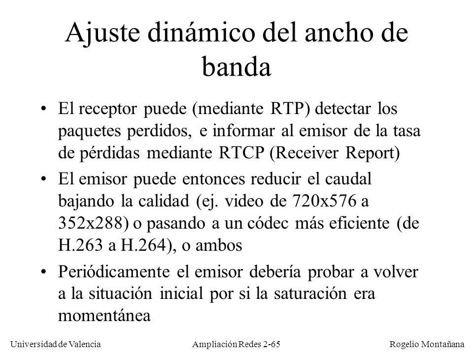 Universidad de Valencia Rogelio Montañana Ampliación Redes 2-64 Recomendación ITU-T G.114 Imperceptible Perceptible pero tolerable Intolerable