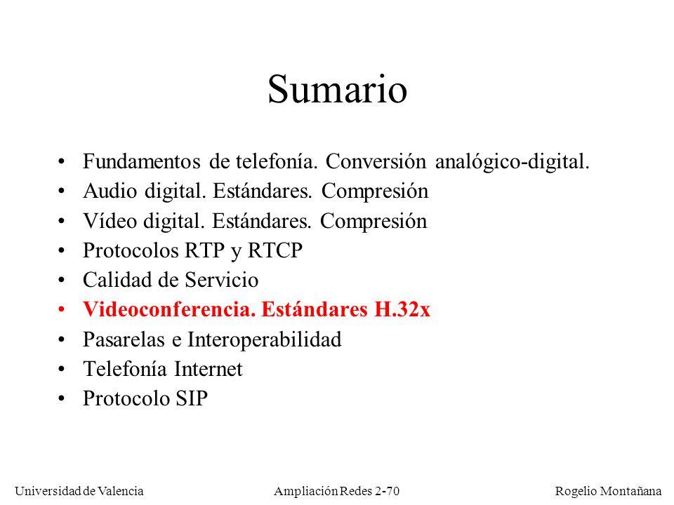 Universidad de Valencia Rogelio Montañana Ampliación Redes 2-69 Comparación de los codecs ILBC, G.729A y G.723.1
