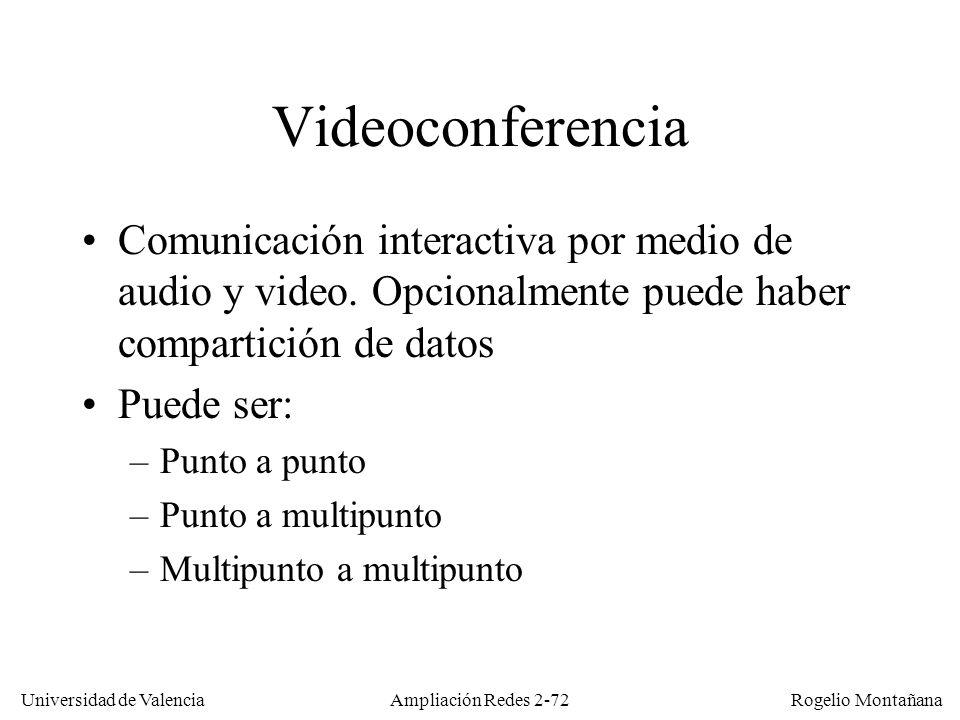 Universidad de Valencia Rogelio Montañana Ampliación Redes 2-71 Aplicaciones de audio-vídeo en tiempo real AplicaciónSentidoRetardo tolerableEspectadoresMulticast Audio/Video conferencia (telefonía) Bidirecc.150-400 msUno o variosApropiado Audio-Vídeo bajo demanda * Unidirec.5-10 sUnoNo Emisión en directo (radio-TV por Internet) Unidirec.10-30 sMuchosMuy Apropiado (*) En el audio-vídeo bajo demanda el usuario puede controlar la emisión, de ahí el requerimiento de un retardo no excesivo