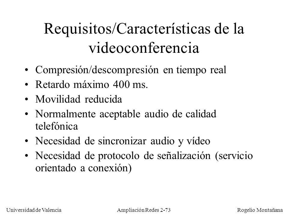 Universidad de Valencia Rogelio Montañana Ampliación Redes 2-72 Videoconferencia Comunicación interactiva por medio de audio y video.