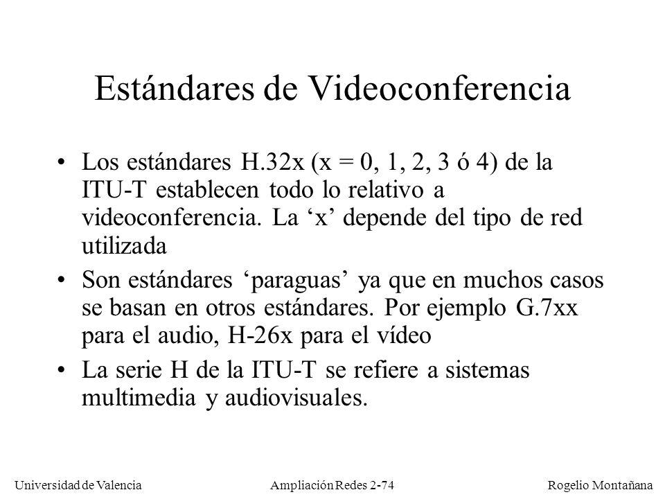 Universidad de Valencia Rogelio Montañana Ampliación Redes 2-73 Requisitos/Características de la videoconferencia Compresión/descompresión en tiempo real Retardo máximo 400 ms.