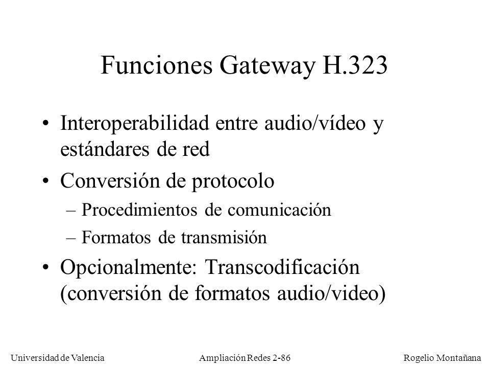 Universidad de Valencia Rogelio Montañana Ampliación Redes 2-85 Pasarela (Gateway) H.320-H.323 Internet RDSI Gateway o puerta de enlace 147.156.2.15 147.156.2.69963171500 963972386 BRI PRI Arrancar Netmeetig GW 147.156.2.69 Llamar a 963972386 ADSL GW