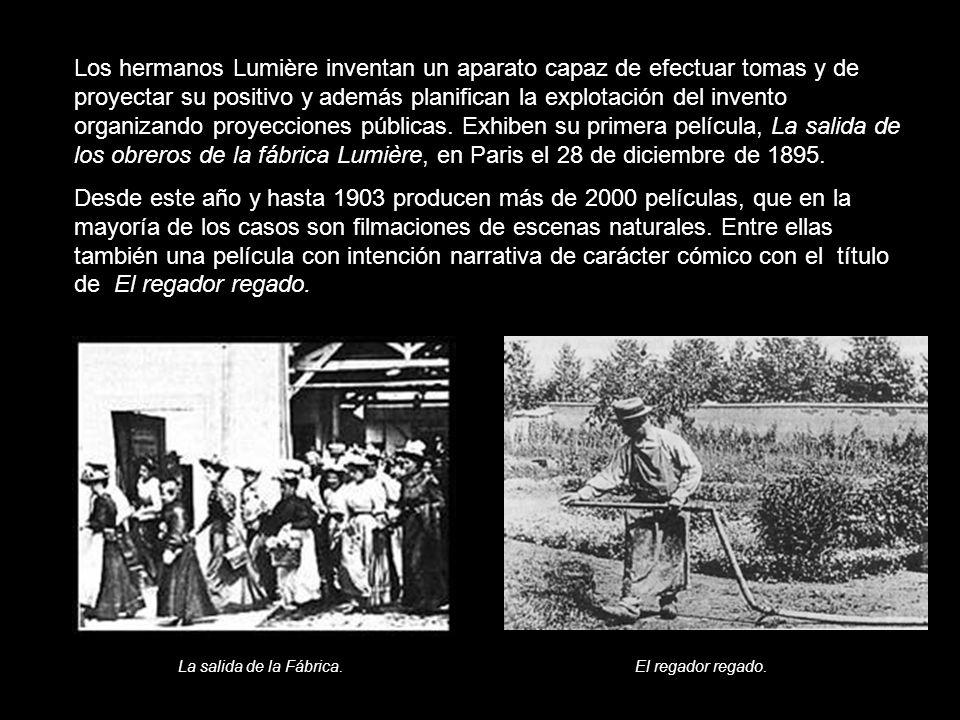 Los hermanos Lumière inventan un aparato capaz de efectuar tomas y de proyectar su positivo y además planifican la explotación del invento organizando