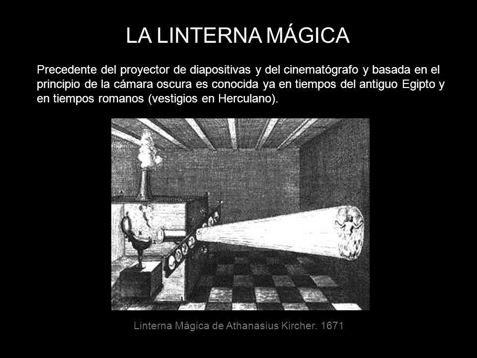 LA LINTERNA MÁGICA Precedente del proyector de diapositivas y del cinematógrafo y basada en el principio de la cámara oscura es conocida ya en tiempos