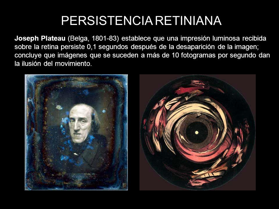 PERSISTENCIA RETINIANA Joseph Plateau (Belga, 1801-83) establece que una impresión luminosa recibida sobre la retina persiste 0,1 segundos después de