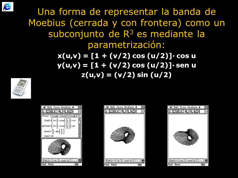 Una forma de representar la banda de Moebius (cerrada y con frontera) como un subconjunto de R 3 es mediante la parametrización: x(u,v) = [1 + (v/2) cos (u/2)]· cos u y(u,v) = [1 + (v/2) cos (u/2)]· sen u z(u,v) = (v/2) sin (u/2)