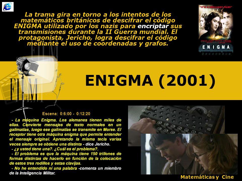 ENIGMA (2001) La trama gira en torno a los intentos de los matemáticos británicos de descifrar el código ENIGMA utilizado por los nazis para encriptar sus transmisiones durante la II Guerra mundial.