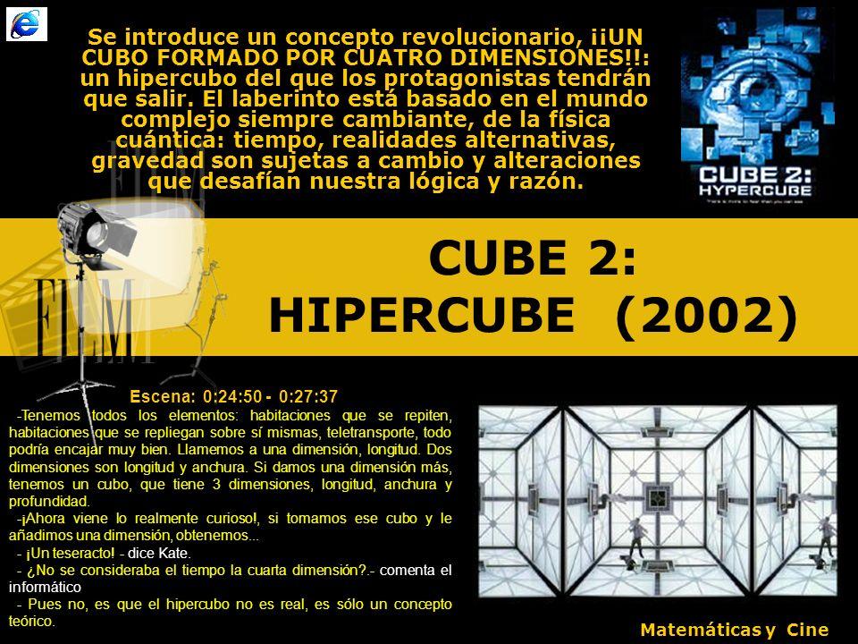 CUBE 2: HIPERCUBE (2002) Se introduce un concepto revolucionario, ¡¡UN CUBO FORMADO POR CUATRO DIMENSIONES!!: un hipercubo del que los protagonistas tendrán que salir.