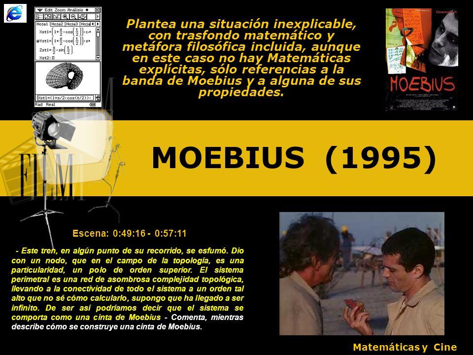 MOEBIUS (1995) Plantea una situación inexplicable, con trasfondo matemático y metáfora filosófica incluida, aunque en este caso no hay Matemáticas explícitas, sólo referencias a la banda de Moebius y a alguna de sus propiedades.
