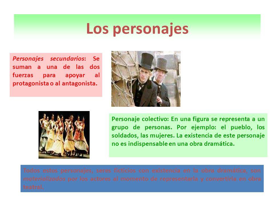 Los personajes Personajes secundarios: Se suman a una de las dos fuerzas para apoyar al protagonista o al antagonista. Personaje colectivo: En una fig