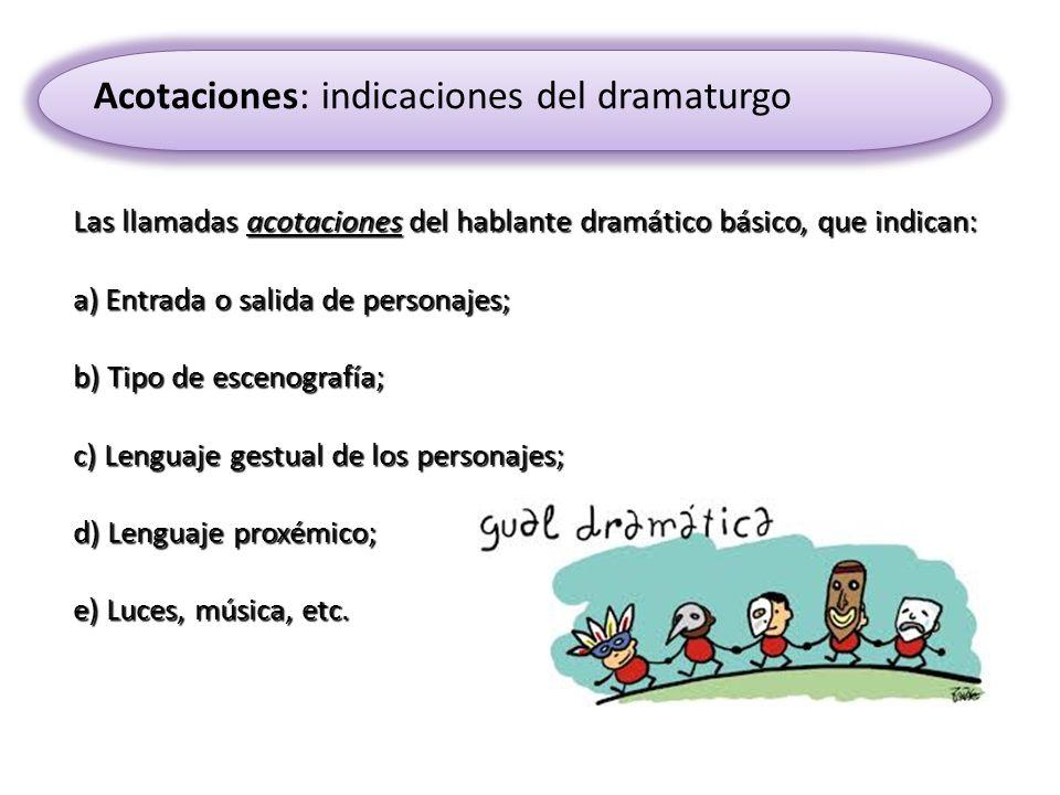 Las llamadas acotaciones del hablante dramático básico, que indican: a) Entrada o salida de personajes; b) Tipo de escenografía; c) Lenguaje gestual d