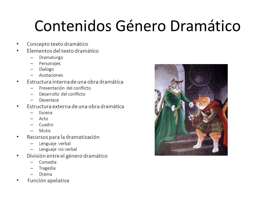 El género dramático se caracteriza por el predominio de la función apelativa o conativa, ya que la acción se desarrolla a través del diálogo de los personajes.