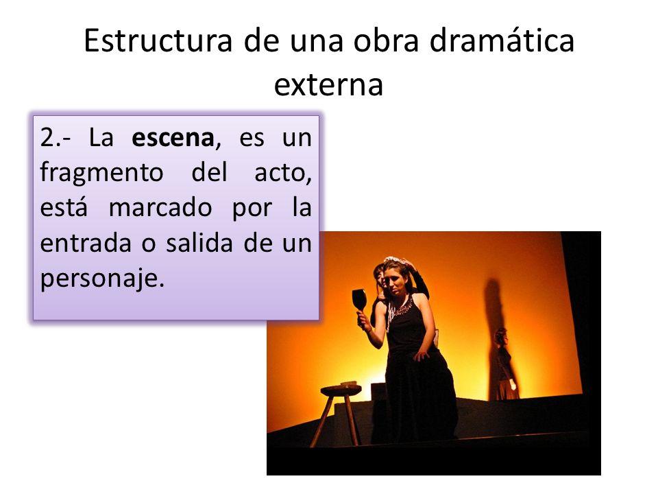 Estructura de una obra dramática externa 2.- La escena, es un fragmento del acto, está marcado por la entrada o salida de un personaje.