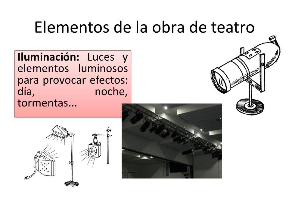 Elementos de la obra de teatro Iluminación: Luces y elementos luminosos para provocar efectos: día, noche, tormentas...