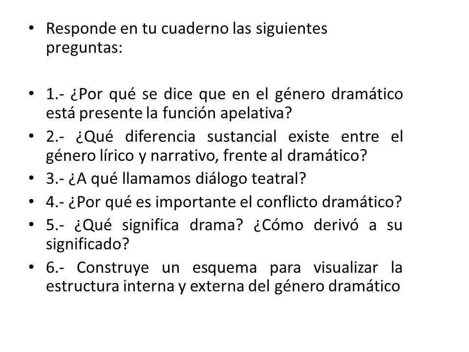 Responde en tu cuaderno las siguientes preguntas: 1.- ¿Por qué se dice que en el género dramático está presente la función apelativa? 2.- ¿Qué diferen