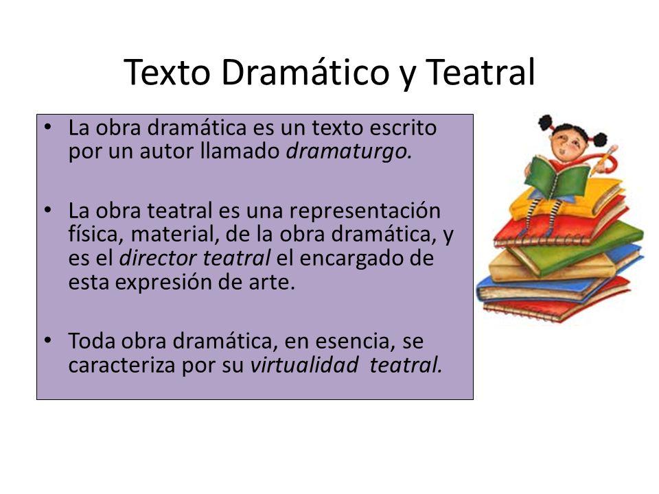 Texto Dramático y Teatral La obra dramática es un texto escrito por un autor llamado dramaturgo. La obra teatral es una representación física, materia