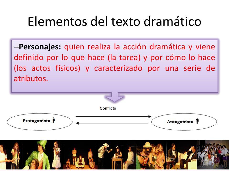 Elementos del texto dramático – Personajes: quien realiza la acción dramática y viene definido por lo que hace (la tarea) y por cómo lo hace (los acto