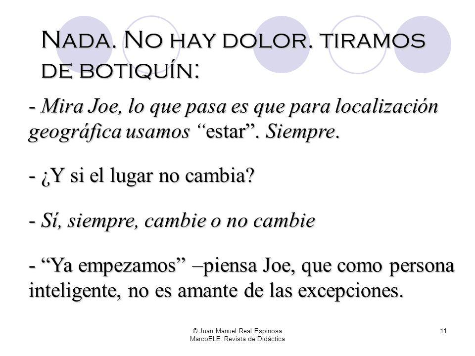 © Juan Manuel Real Espinosa MarcoELE. Revista de Didáctica 10 -...Así no se dice. El castillo ESTABA en Transilvania. - Que me devuelvan el dinero – p